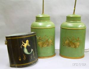Pair of Paintdecorated Tin Canister Table Lamps and a Martha Cahoon Attributed Painted Mermaid Decorated Tin W