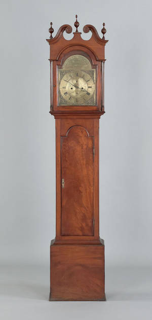 Pennsylvania Queen Anne mahogany tall case clock mid 18th c