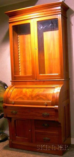 Eastlaketype Walnut and Burl Walnut Veneer Twopart Cylinder DeskBookcase