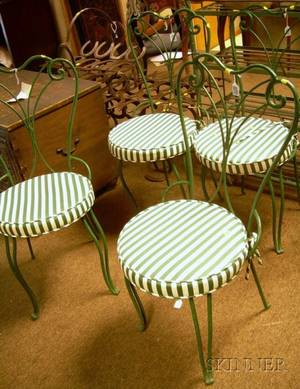 Set of Four Greenpainted Metal Patio Side Chairs