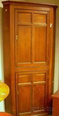 English Oak Paneled TwoDoor Corner Cabinet