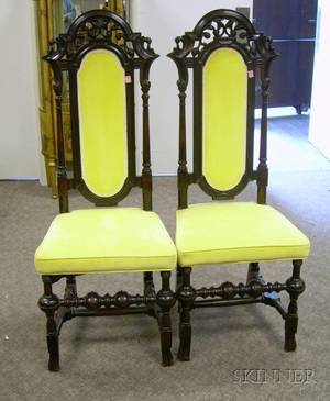 Pair of William  Mary Style Upholstered Carved Maple Side Chairs