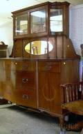 Edwardian Inlaid Carved Mahogany Twopart Mirrored Sideboard
