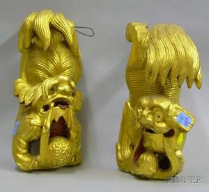 Pair of Chinese Carved Giltwood Foo Dog Architectural Fragments