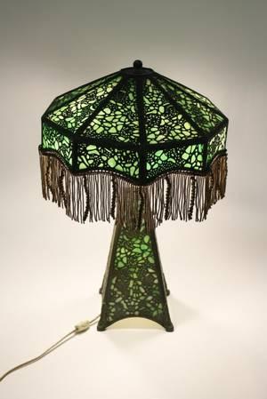 Filigree Nine Panel Lamp w Green Slag Glass