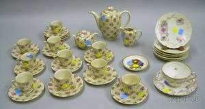 Twentyfive Piece German Transfer Floral Pattern Porcelain Demitasse Set and a Set of Six Small Bavarian Poppy
