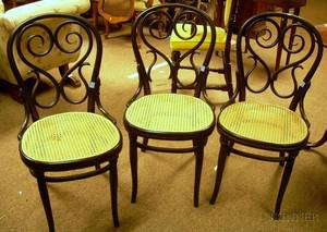 Set of Six Blackpainted Thonettype Caned Bentwood Side Chairs