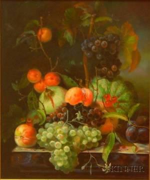 Framed Flemishstyle Oil on Canvas Still Life