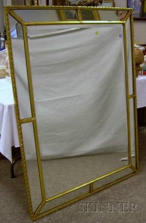 Italianstyle Giltwood and Gesso Mirror with Beveled Glass