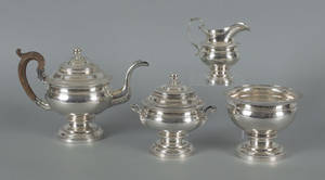 Philadelphia four piece silver tea service ca 1815