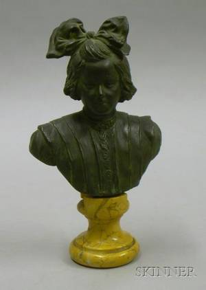 Patinated Bronze Bust of a Young Woman