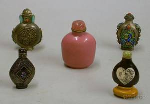 Group of Five Oriential Snuff Bottles