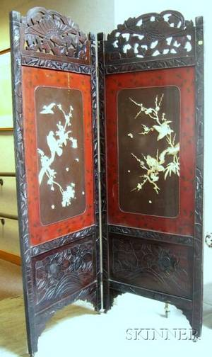 Chinese Carved Wood Framed Carved Bone Floral and Bird Mounted Lacquered TwoPanel Floor Screen
