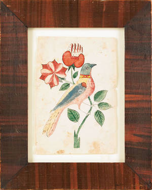 Southeastern Pennsylvania watercolor fraktur bookplate 19th c