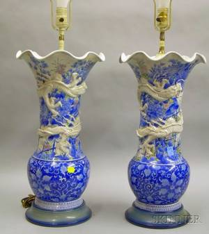 Pair of Asian Export Porcelain Vase Table Lamps