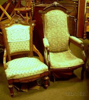 Victorian Renaissance Revival Upholstered Carved Walnut Armchair and Parlor Side Chair