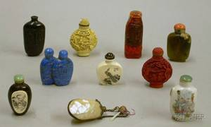 Nine Oriental Snuff Bottles