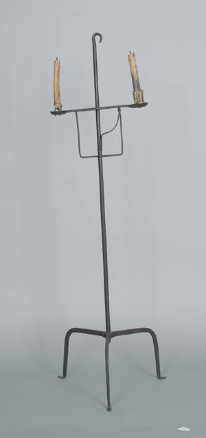 Wrought iron adjustable floor standing candlestand late 18th c
