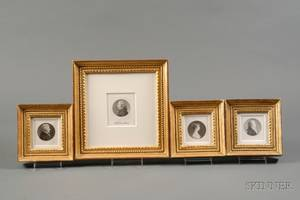 Charles Balthazar Julien Fvret de SaintMmin FrenchAmerican 17701852 Four Framed Engraved Portrait Miniatures