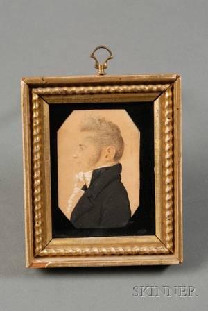 Attributed to Charles Balthazar Julien Ferret de SaintMemen FrenchAmerican 17701852 Portrait Miniature of a Gentle