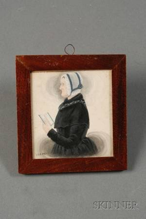 Attributed to James Sanford Ellsworth American 180203 1874 Portrait Miniature of an Elderly Woman