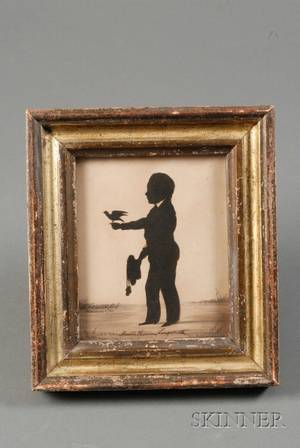 American School 19th Century Fulllength Silhouette Portrait of a Boy with a Bird