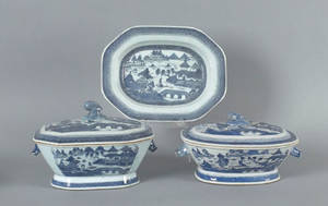 Two Chinese export blue and white tureens and covers