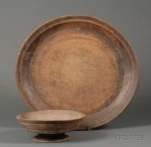 Large Treen Plate and Footed Bowl