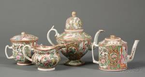 Two Rose Medallion Porcelain Tea Pots Creamer and Covered Sugar Bowl
