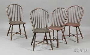 Set of Four Windsor Painted Bowback Side Chairs
