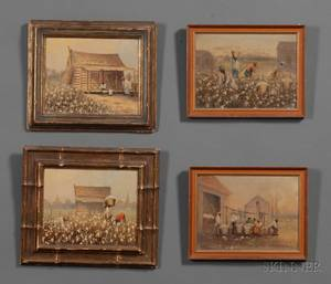In the Manner of William Aiken Walker South Carolina 1838  1921 Four Cotton Plantation Scenes