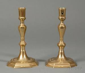 Pair of Brass Octagonal Base Candlesticks