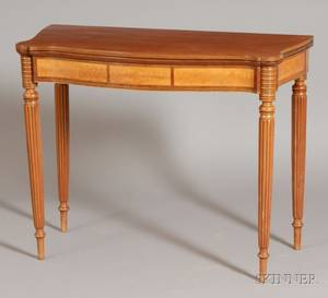 Federal Mahogany and Flame Birch Inlaid Card Table