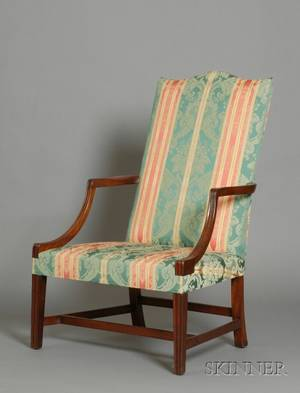 Federal Mahogany Carved Upholstered Lolling Chair