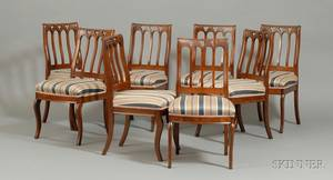 Set of Eight Gothic Revival Upholstered Dining Chairs