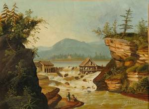 Attributed to Thomas Chambers London New York and Boston 18081866 The Sawmill at Rockwell Falls Lake Luzerne Warren County New
