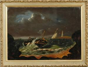 Attributed to Thomas Chambers London New York and Boston 18081866 Shipwreck off a Rocky Coast with Distant Lighthouse