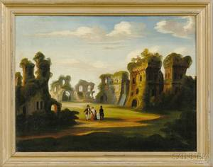 Attributed to Thomas Chambers London New York and Boston 18081866 Figures in a Fantasy of Ruins