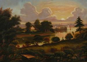 Attributed to Thomas Chambers London New York and Boston 18081866 View of Popes Creek Plantation Birthplace of George Washingt