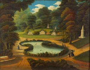 Attributed to Thomas Chambers London New York and Boston 18081866 View of Forest Pond Mount Auburn Cemetery Cambridge Massach