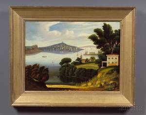 Attributed to Thomas Chambers London New York and Boston 18081866 View of New York Bay from Brooklyn Heights