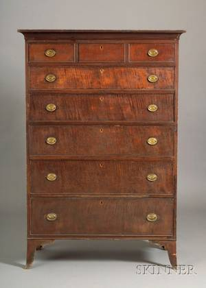 Federal Tiger Maple and Cherry Tall Chest of Drawers