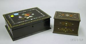 Victorian Motherofpearl Inset Black Lacquered Papiermache Box and a French Metal Motherofpearl and Torto