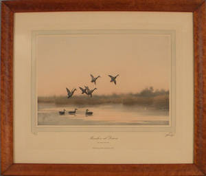 JD Knap pencil signed lithograph titled  Marshes at Dawn