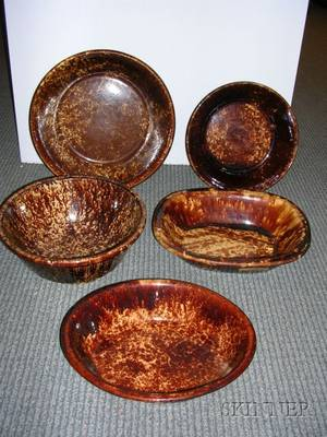 Five Rockingham Glazed Pottery Items
