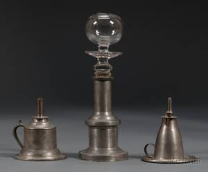 Two Pewter Hand Lamps and a Makedo Glass and Pewter Lamp