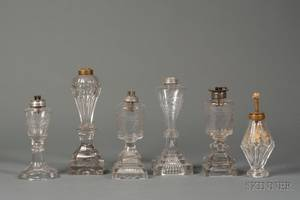 Six Assorted Colorless Cut and Pressed Glass Fluid Lamps