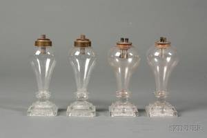 Two Pair of Colorless Freeblown Glass Bulb Lamps with Pressed Lacy Glass Bases