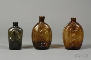 Three Historical Colored Glass Whiskey Flasks
