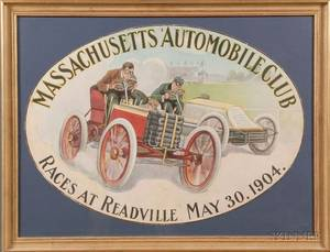 Massachusetts Automobile Club Readville May 30 1904 Vintage Poster